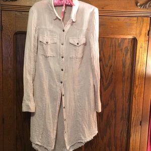 Free People Extra Long Button Down Shirt